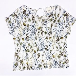 Cynthia Rowley Green Floral Linen Top, Sz S